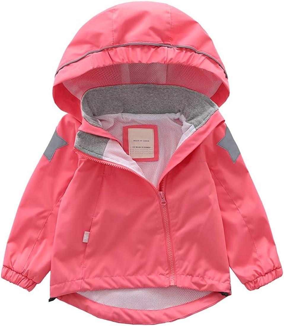 ACESTAR Waterproof Rain Jacket Coat with Reflective Strips,Windproof Windbreaker Raincoat