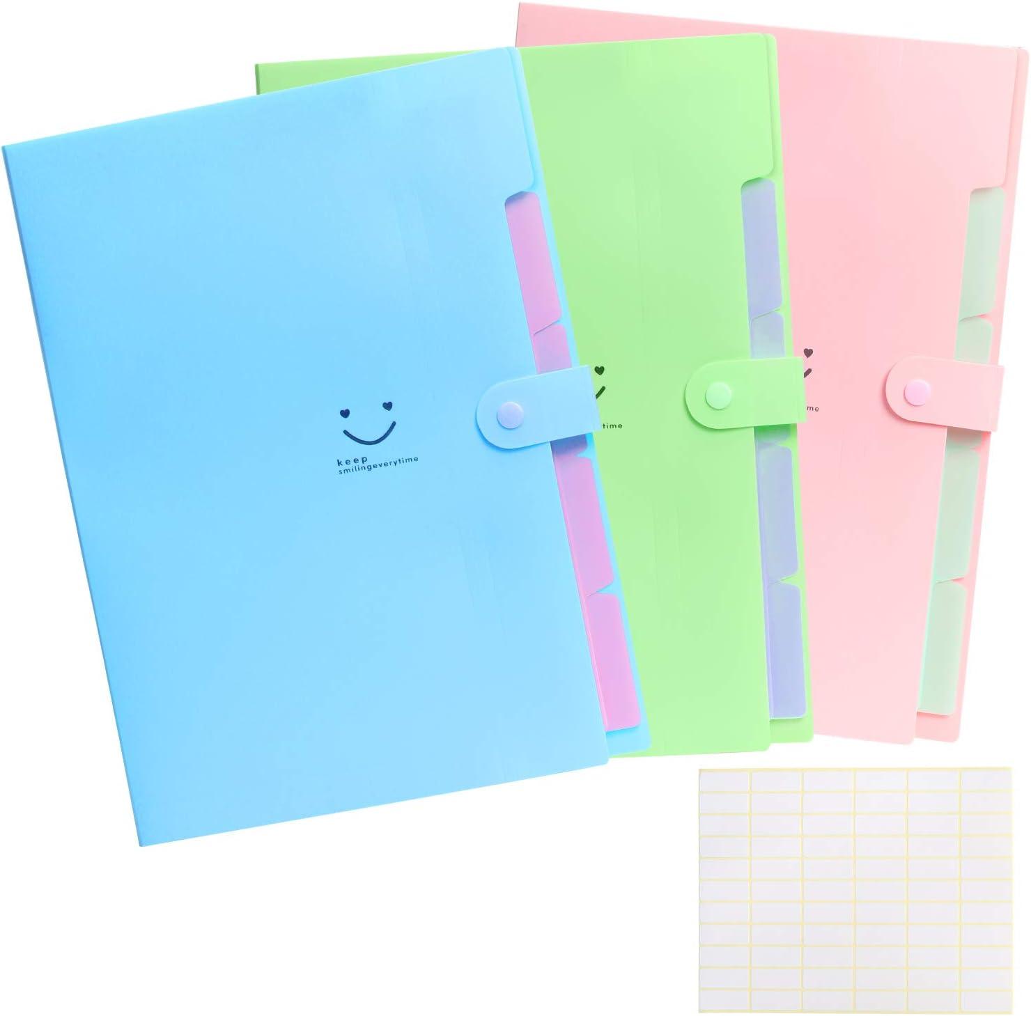 Carpetas de plástico ZERHOK 3pcs cartera plástica Carpetas acordeón expandibles con estresuelo de tres colores para archivar documentos en oficina y clase