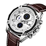 Army Analog Chronograph Luminous Leather Sport Quartz Wrist Watches for men Calendar Date Brown