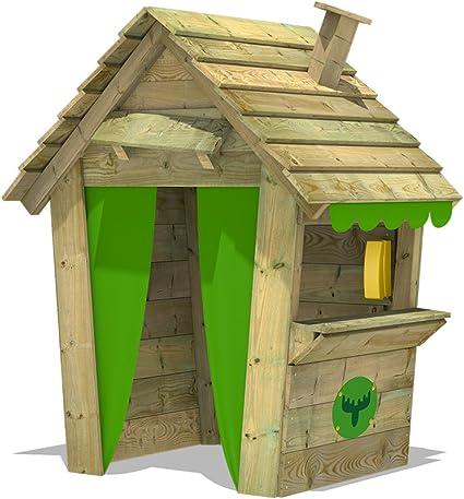 FATMOOSE Casetta bambini PandaPark Pro XXL casa dei bambini giardino giochi in legno con camino, finestra e contatore