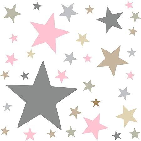 73079-SET3-120 timalo/® 120 adhesivos de pared XL para habitaci/ón infantil estrellas pastel