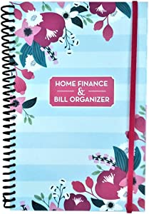 Home Finance & Bill Organizer with Pockets (Flowers On Blue And White Stripes)
