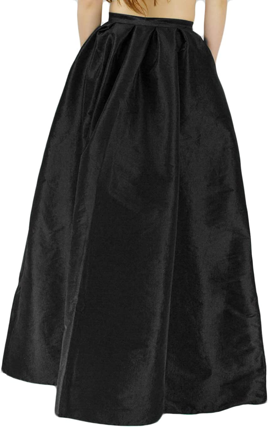 YSJ Womens High Waist A-Line Pleated Maxi Skirts Party Swing Skirt with Pockets