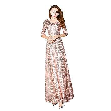 572991386e Vestido de Dama de Honor para Mujer Vestido de Noche de Lentejuelas con  Cuello en V