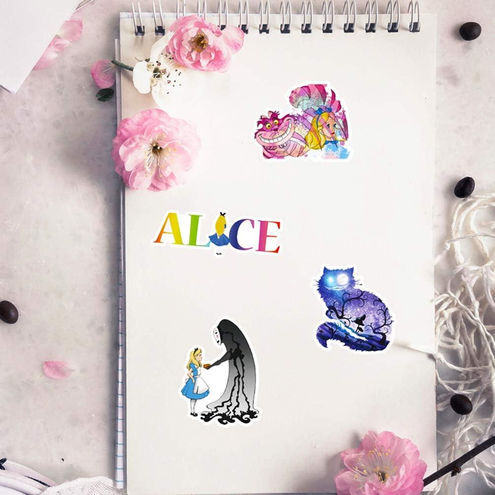 Alice in Wonderland Laptop Stickers Decals Cute Girls Anime Scrapbook Car Water Bottle Phone Skateboard Notebook Waterproof 50pcs