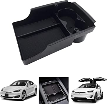Fit: Tesla Model S//Model X 2016 2017 2018 SPAUTO Tesla Model S//Model X Center Console Organizer Armrest Storage Box with Cup Holder