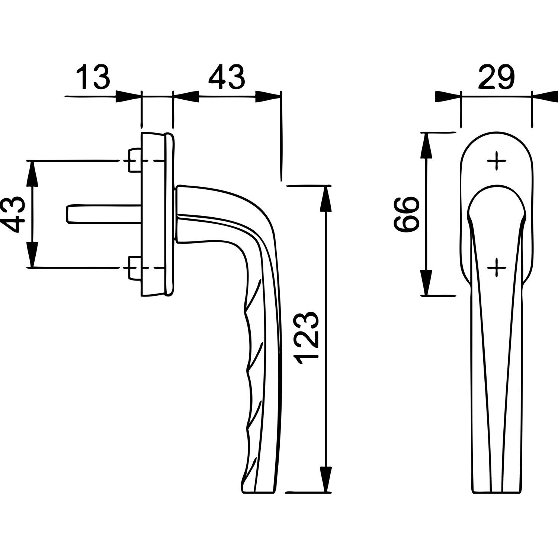 45/° Rastung wei/ß 1 St/ück mmee 43 mm Stiftl/änge: 43mm HOPPE 3891662 Fenstergriff Dolphin