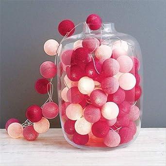No brand Bola de algodón Bolas de guirnaldas de luz Luces de cadena de luz LED Guirnalda al aire libre para decoración Batería seca de 3M Chica rosa: Amazon.es: Iluminación