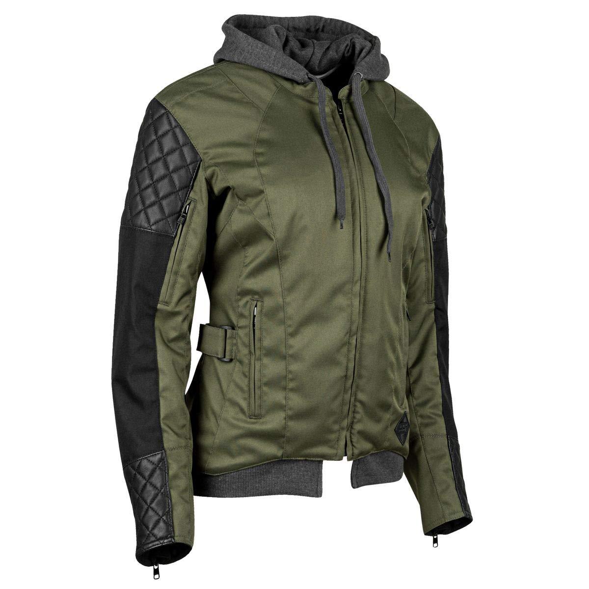 Olive//Black XXXX-Large Speed /& Strength Womens Double Take Textile Jacket