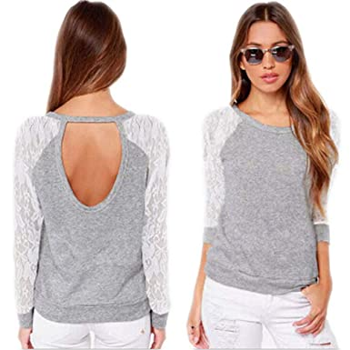 Women Spring Casual Long Sleeve Lace Backless Hoodies Sweatshirts Pullovers Tops Sudaderas Mujer S-XXL