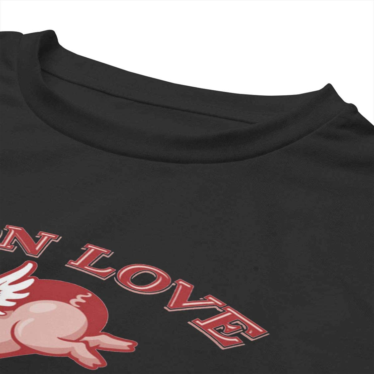 Little Pig is Angel of Love Womens Summer Short Sleeve Print Crop Top T Shirt Teen Girls