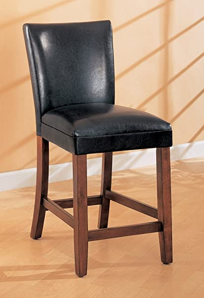 Amazoncom 24 Inch Bar Stool Set Of 2 In Black Coaster Kitchen