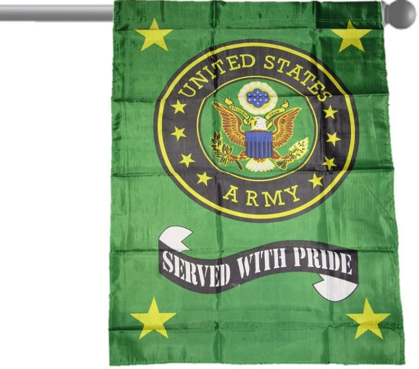 "U.S. ARMY GREEN SERVED WITH PRIDE GARDEN BANNER/FLAG 28""X40"" SLEEVED POLY"