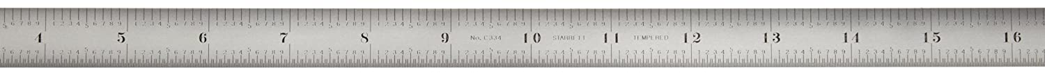 Starrett C331-150 Full Flexible Steel Rule With Millimeter And Inch Graduations, 150mm Length, 12mm Width, 0.4mm Thickness 681-51331