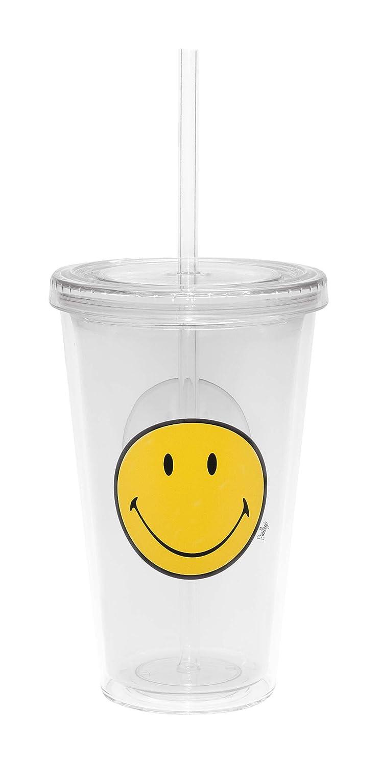 Zak Designs 6187-0851 - Vaso para refrescos con pajita integrada (48 cl), diseño cara sonriente, color rosa