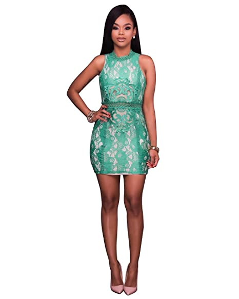 Annystore Womens Elegant Sleeveless Floral Lace Bodycon Mini