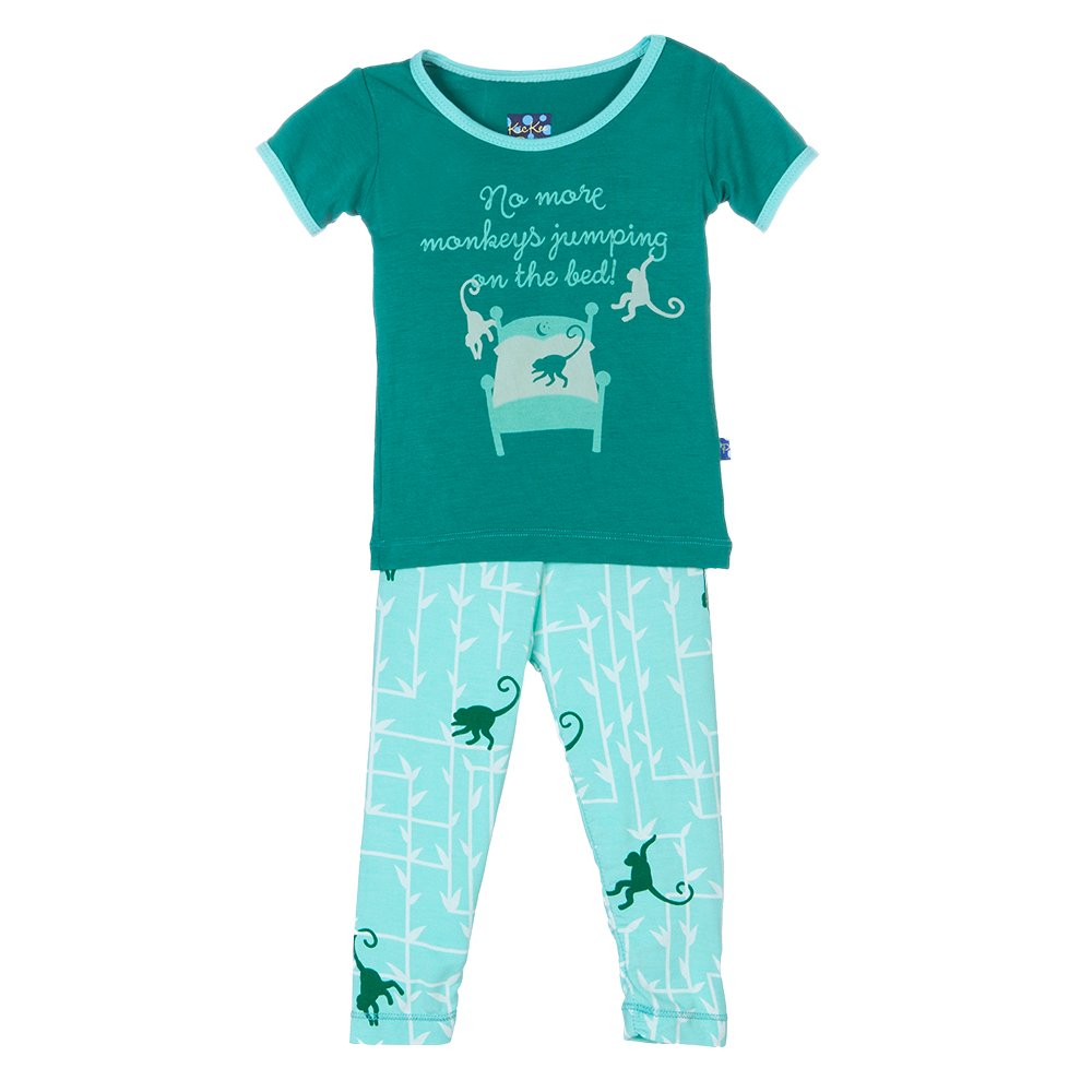 Kickee Pants Baby Boys' Print Short Sleeve Pajama Set Prd-kppj108-Gfm, Glass Forest Monkey, 18-24 Months by Kickee Pants