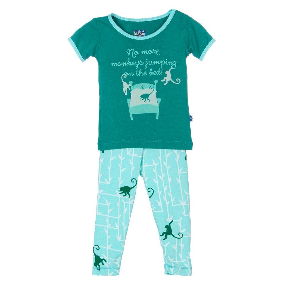 Kickee Pants Baby Boys' Print Short Sleeve Pajama Set Prd-kppj108-Gfm, Glass Forest Monkey, 18-24 Months