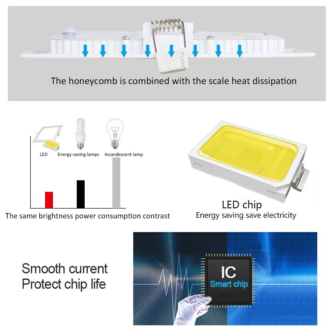 9W Luz de Techo Empotrada LED Cuadrados Panel de Luz Led Downlight Destacar Iluminaci/ón Cocina Ba/ño Corredor 3000K Warm White Tama/ño del Agujero 12.5CM