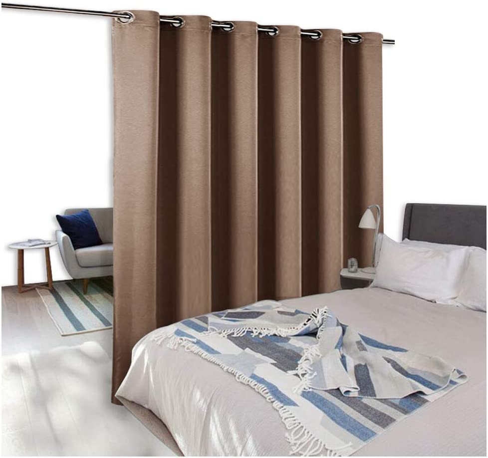 NICETOWN Room Divider Curtain Screen Partitions, Home Decor Blackout Curtain for Shared Space, Suit for Apartment, Studio, Storage, High Ceilings (One Pack, 9' Tall x 10' Wide, Cappuccino)