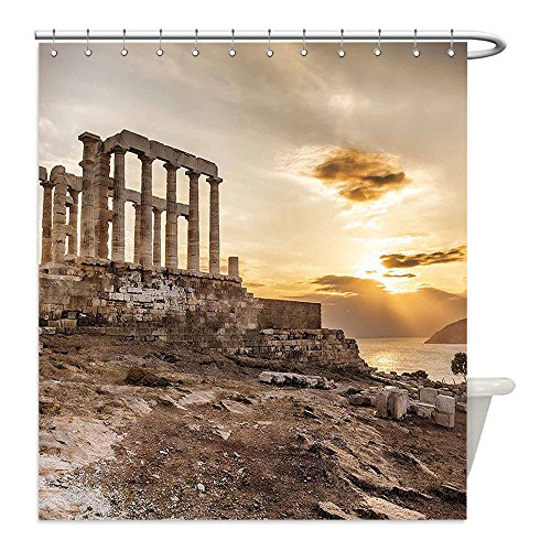 Liguo88 Custom Waterproof Bathroom Shower Curtain Polyester Pillar Decor Greek Temple Poseidon at Sunset Sea and the Cloudy Sky Digital Image Taupe and Beige Decorative bathroom - Greek Warrior Costume Pattern