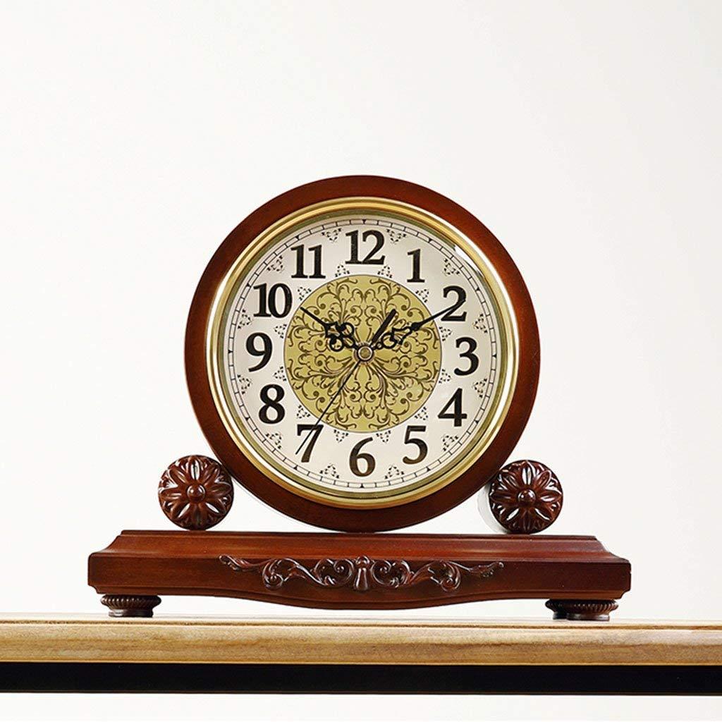 Amazon.com : Family Fireplace Clocks Desktop Watch Tablecloth Clocks Living Room Retro Solid Wood Clock Silent Decoration ó Desk n Suitable for Bedroom ...