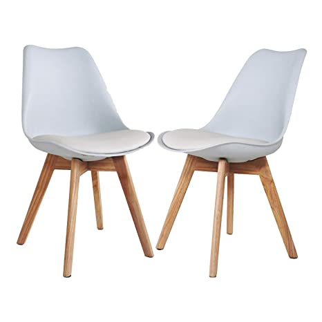 Enjoyable Mid Century Modern Barcelona Dining Side Chairs Set Of 2 Wood Legs Upholstered Seat Padded Armless Chair For Kitchen Dining Bedroom Living Room Spiritservingveterans Wood Chair Design Ideas Spiritservingveteransorg