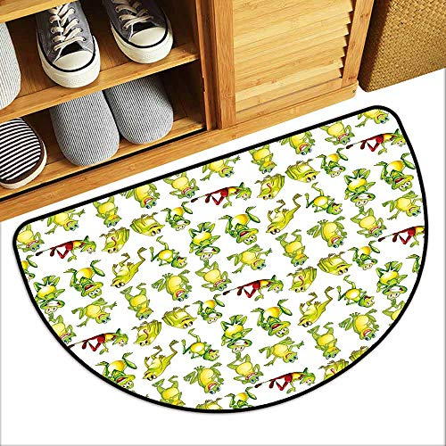 DILITECK Pet Door mat Nursery Frogs in Different Positions Funny Happy Cute Expressions Faces Toads Cartoon Anti-Fading W30 xL18 Green Yellow Red (Texas Toads Cartoon)