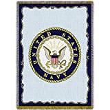 united states navy blanket - Pure Country Weavers Navy Woven Throw Blanket with Fringe by Artisan Textile Mill USA Made Size 70 x 50 100% Cotton Woven to Last a Lifetime