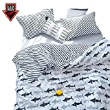 BuLuTu Navy Blue/Grey Shark Print Pattern Cotton US Twin Kids Bedding Duvet Cover Sets(1 Duvet Cover 2 Pillow Shams) White Quilt Bedding Sets for Kids Boys with 4 Corner Ties Wholesale