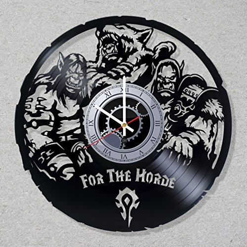 Contemporary modern horde Vinyl Clock Warcraft Ork record clocks movie home room kitchen decor unique gift ideas for him her boys (Ork Costumes)