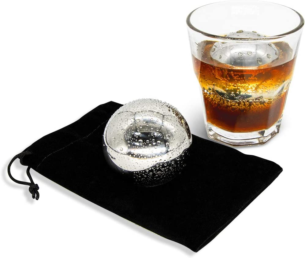 JSY 2pcs Whiskey Ball Reusable Stainless Steel Ice Sphere,Vodka,Wine Ice Chiller Ice Cube Metal Whiskey Stones Ball Whiskey Drink Coolers Gift ,55mm