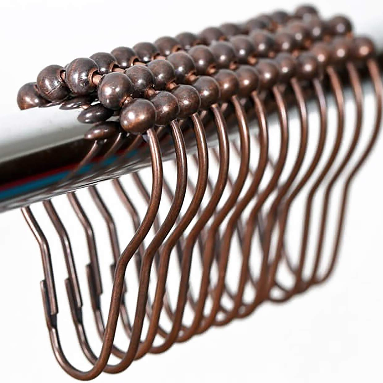 2b767e11581 nikkouware Rustproof Stainless Steel Shower Curtain Rings Hooks - Set of 12  - Oil Rubbed Bronze