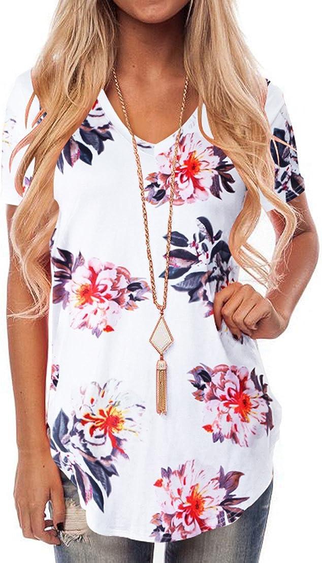 NIASHOT Womens Short Sleeve Loose Casual V-Neck Floral T-Shirt Tops