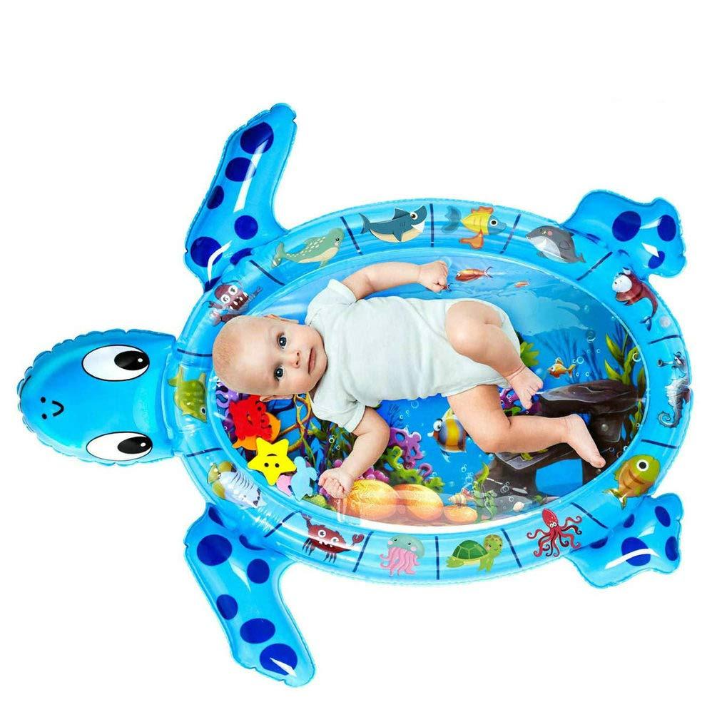 Auslaufsicheres PVC Wasserf/üllung Baby Aktivit/ätscenter Spielmatte Spielzeug f/ür Neugeborene und Kleinkinder Schildkr/öte Bauch Zeit Wasserspielmatte GuDoQi Aufblasbare Wassermatte Baby