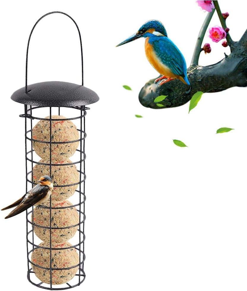 Comedero de pájaros exterior con pie de hierro fundido con bola de grasa para alimentos suspendidos, estilo comedero de pájaros para jardín, pájaros, salvaje al aire libre, 10 x 10 x 25,5 cm