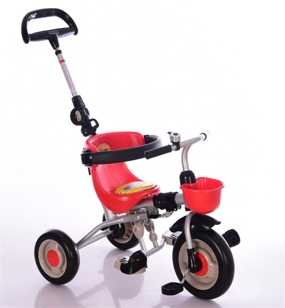 rouge  MASLEID Les Enfants Tricycle pédale Enfants Pliage Poussette de bébé de Bicyclette