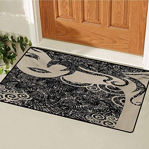 (GUUVOR Modern Commercial Grade Entrance mat Woman with Cool Posing Wavy Sexy Hot Hair Vamp Makeup Vintage Image Print for entrances garages patios W19.7 x L31.5 Inch Tan and Dark)