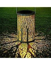Yokunat LED Solar Lantern Outdoor Decorative Hanging Garden Lantern Cylindrical Lamp Night Light