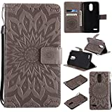LG Stylo 3 Case,Stylus 3 Plus Wallet Case,Premium Vintage Emboss Floral PU Leather Built-in Card/Cash Slots,Stand Magnetic Wristlet Strap Case by Zvkvamt (Flower-Grey)