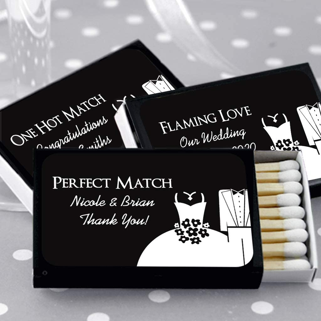 Set of 50 Matchboxes Custom Wedding Matches Silhouette Designs Personalized Matches for Wedding Favors Black Box