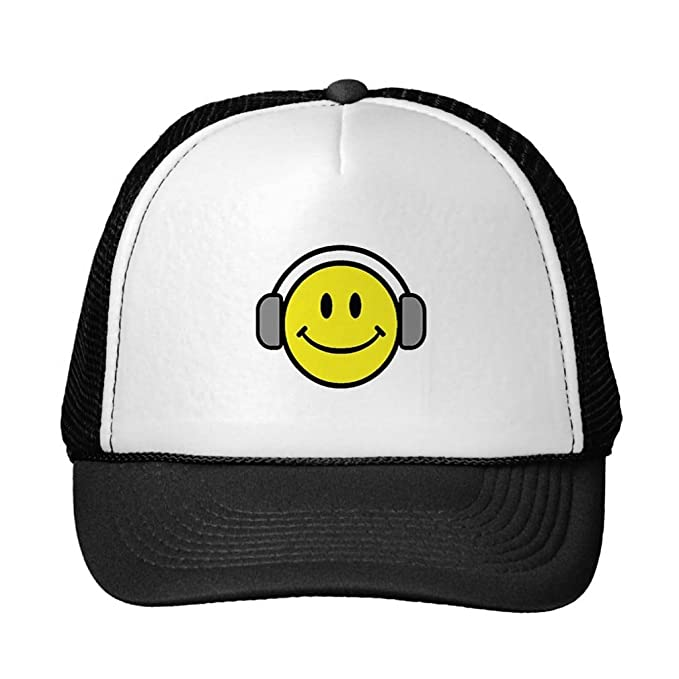 261e4756c26 Image Unavailable. Image not available for. Color  Julyou Happy Smiley Face  - The Music Lover Trucker Hat Baseball Mesh Cap ...
