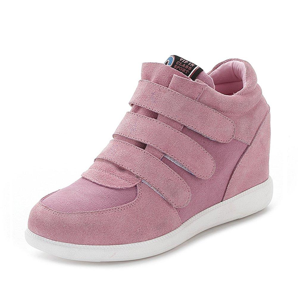 rismart Women Classic Middle Hidden Wedge Heel Suede Upper Hook&Loop Fashion Sneakers B06XWDC9WP 8 B(M) US|Pink