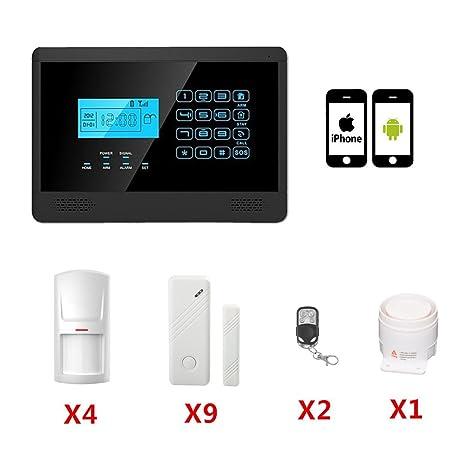 ABTO Táctil LCD GSM inalámbrico y por cable de voz Inicio de alarma de seguridad del sistema LCD auto del sintonizador (Negro)