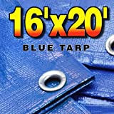 16' X 20' Premium Blue Multi-Purpose 6-mil Waterproof Poly Tarp Cover 16x20 Tent Shelter Camping Tarpaulin Rip-Smart