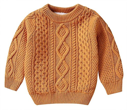 Girls Boys Knitting Pattern Cable Knit Sweater & Cardigan Round Neck Pullover 3-9T