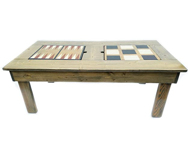 Amazon Com Coffee Table Game Table Features 4 Games Wood