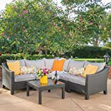 Great Deal Furniture | Caspian | 6-Piece Outdoor Wicker Sectional Sofa Set with Water Resistant Cushions | in Grey/Silver