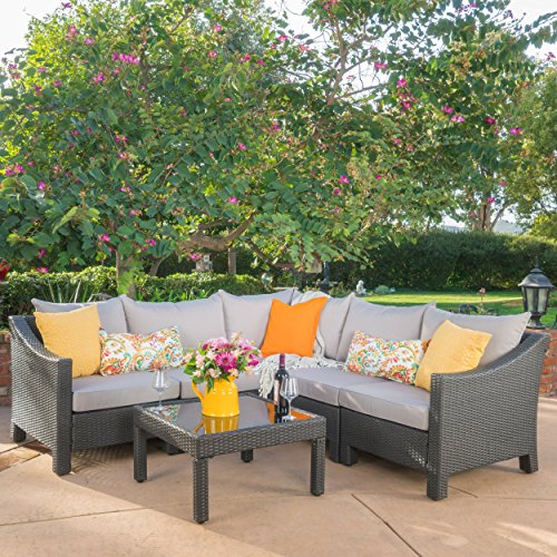 Caspian 6 Piece Outdoor Wicker Sectional Sofa Set with Water Resistant Cushions (Set Sofa Outdoor Wicker)