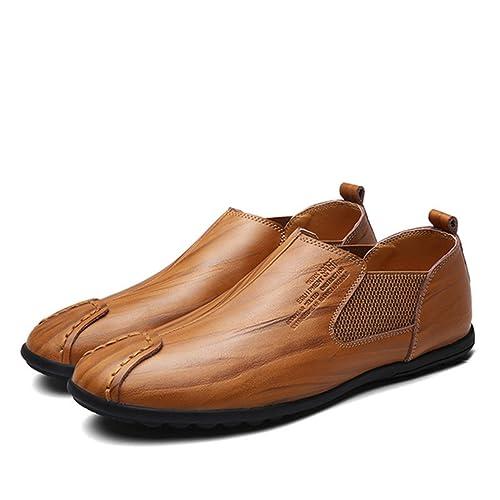 Moccasin pour homme, Gracosy Cuir Casual Chaussure Bateau A Enfiler Design Casual Loafers Chaussures de Ville Urban fait à la main NOIR MARRON